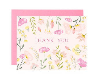 FLORAL THANK YOU card. Pink flower Thank You card. Floral card. Just because greeting card. Friend card. Pretty thanks card.