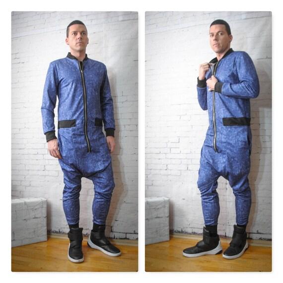 Printed Denim Spandex Jersey Drop Crotch Harem Paint Bomber Style Jumpsuit/Flight Suit Long sleeve Zipper Front Romhim Romper