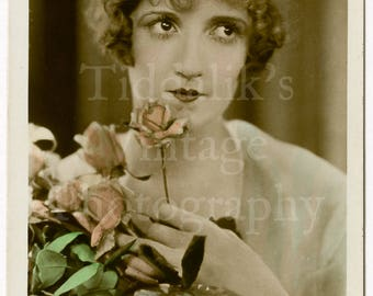 Constance Talmadge Silent Film Stage Actress Colour Tinted RPPC Postcard - Uposted Photograph Flapper Girl