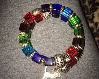 Rainbow Bridge memory wire wraps in remembrance of your beloved fur baby. (7.00 without charm.)