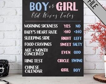 Old Wives Tale Gender Sign | 16 x 20 | Instant Download | Gender Reveal Ideas | Gender Reveal Party | Boy Or Girl | Gender Reveal Decoration