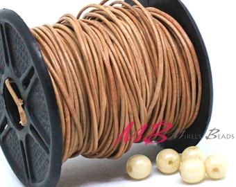 2mm Spool of Natural Indian Leather, 5 Yard Spool of Genuine Leather, 15 feet Round Leather for Jewelry Making