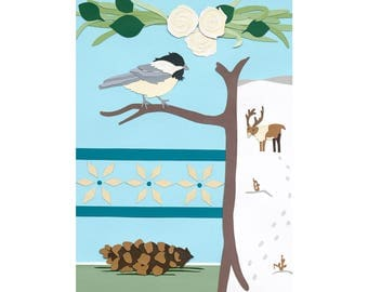 Chickadee in Winter with Roses and Reindeer in the Snow