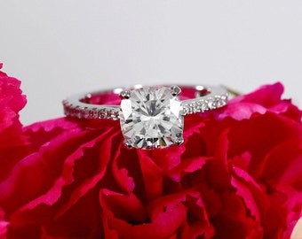 7.5mm Cushion Moissanite Engagement Ring with Diamonds, Solitaire Ring with Forever One Moissanite (NEO, Harro, Supernova opt. avail)