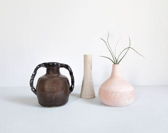 vintage studio pottery vase / minimal pottery jug with geometric handles / brown stoneware vessel