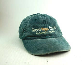 Green Parrot Vtg distressed Dad Hat Baseball Cap // Low Profile Fit // Key West Hat // Green Denim Hat