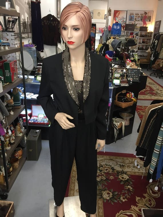 Vintage 1980s John Roberts Gold and Black Jumpsuit with Jacket Sz 8