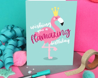 Flamingo card / Flamingo birthday / Friend birthday card / Flamingo lover card / Funny birthday card / Girlfriend card / Cute birthday card
