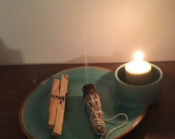 Votive sage incense holder - spiritual healing - clean energy - herb tray - handmade candle holder - new age alter piece - smudge stick