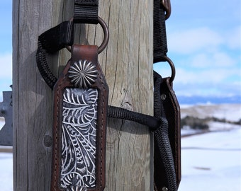 Horse Halter- Western Tool Floral Inlay - Anthracite/Silver