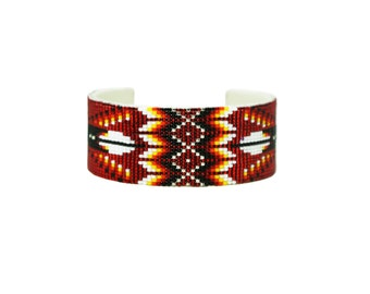 Red Beaded Wide Cuff Bracelet