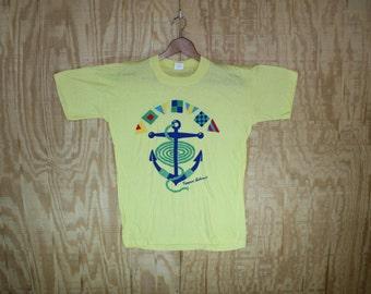 Vintage 1980's Freeport Bahamas Anchor Nautical Graphic Cotton T-Shirt  T Shirt Windswept Label S / M