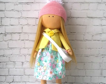 Fabric doll Textile doll handmade  Decorative doll Baby Doll  Rag doll  Cloth doll   Doll for girl  Tilda doll  Handmade dolls