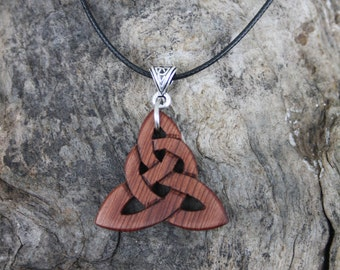 Irish Bog Yew Hand-carved Triquetra Necklace, 6000 Years Old Irish Bog Yew Celtic Knot Necklace, Irish Jewellery, Trinity Knot Pendant