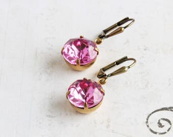 Rose Pink Round Rhinestone Dangle Earrings with Antiqued Brass Hooks (Vintage Glass)