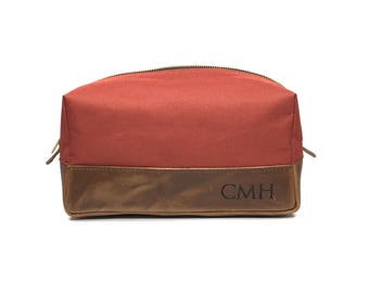 Engraved Dopp Kit - Groomsmen Gift - Orange Sorbet Canvas & Crazy Horse Leather