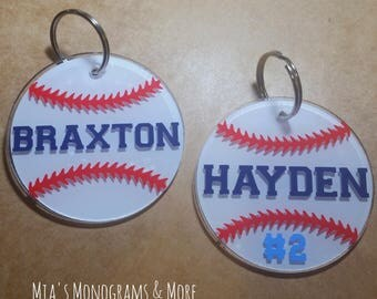 Baseball Keychain Personalized With Name Number and Colors of Your Choice - Kids - Sports - Gift - Baseball