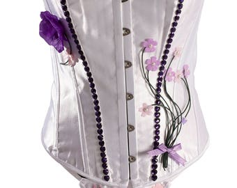 White Satin Over Bust Customised Corset