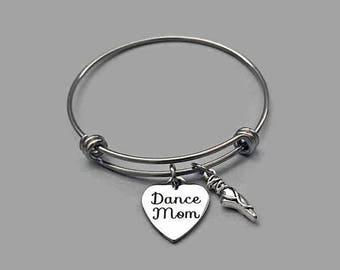 Dance Mom Bracelet, Dance Mom Bangle, Dance Bracelet, Dance Bangle, Ballet Bracelet, Ballet Charm, Ballet Bangle, Stainless Steel