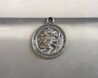Sterling Silver Vintage St. Christopher Medal Patron Saint of Travelers Surfers