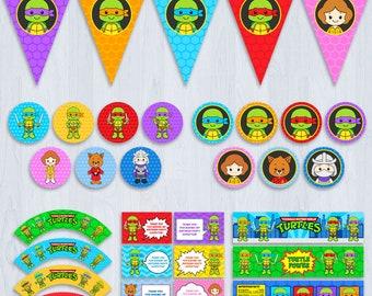 Ninja Turtle Party, Ninja turtle Party Decoration, TMNT party, Ninja Turtle Party Package, Ninja Turtle Party Pack, tmnt decoration