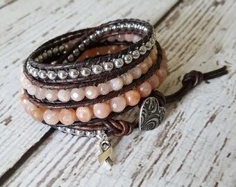 Sunstone & Silver Hematite Wrap Bracelet, Charm Bracelet, Hippie Jewelry, Wrap Bracelet, Boho Jewelry, Yoga Jewelry, x4 Wrap Bracelet Beaded