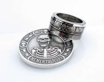 Memento Mori, Coin Ring, The Last Laugh, Handcrafted, 1oz .999, Pure Silver, Unique Ring, Skull, Cross Bone, Coin Jewelry, Mens, Band, Rings