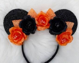 Sparkle Floral Halloween Minnie Ears
