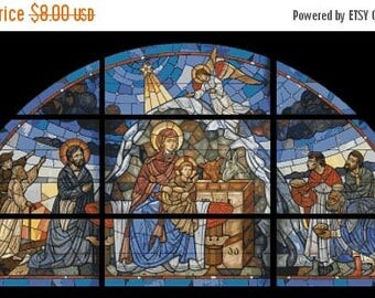 Nativity of Barsam church window Cross Stitch Pattern stained glass pattern - 496 x 253 stitches - INSTANT Download - C783