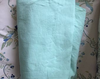 Vintage 1960's French Fabric Pure Linen Pale Green Excellent Large width: 240 cm or 94 inches Home decor Clothing Sewing craft accessories