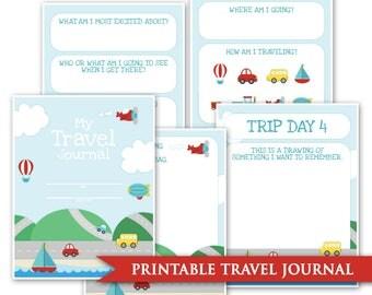 Kids Travel Journal- Printable Digital PDF Road Trip Daily Memory Book Keepsake Journaling Car Trip Cruise Train Plane USA Cross Country