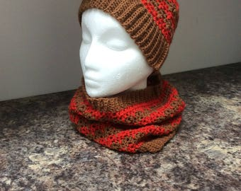 Crocheted hat and cowl set