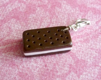 Ice Cream Sandwich Miniature Food Jewelry Polymer Clay Ice Cream Charms