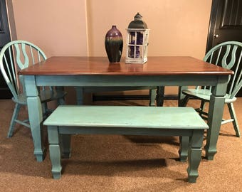 Shabby Chic Dining Table With 2 Chairs U0026 2 Benches Part 68