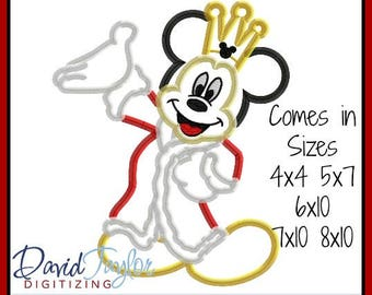 King Mickey Mouse Embroidery Design 4x4 5x7 6x10 7x10 8x10 in 9 formats-Applique Instant Download-DTDigitizing Minnie Queen Princess Prince