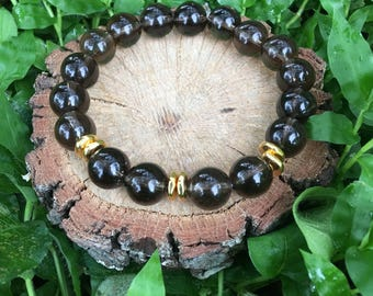 Priscilla Bracelet- Smoky Quartz(10mm) + Gold Nugget Bracelet- grey and gold - beaded bracelet- oliver grey jewelry