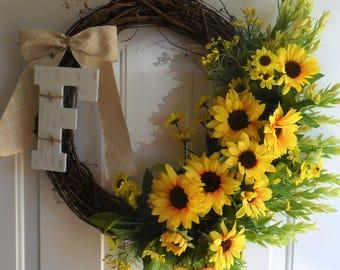 sunflower grapevine wreath, fall, rustic, farmhouse