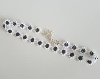Black and White Flower Choker