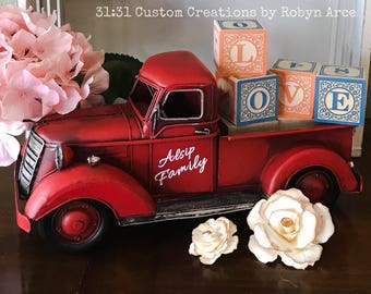 Personalized Red Metal Truck - Primitive Red Truck - Red Metal Truck Decor - Red Truck - Decoration - Vintage Red Truck - Customized Truck