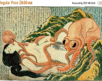 "Octopus Counted Cross Stitch Octopus pattern Hokusai Pattern Hokusai cross stitch needlepoint - 19.71"" x 14.00"" - L1447"
