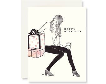Christmas Card Her / Christmas Card/ Xmas Card/Holiday Card/Fashion Christmas Cards/Best Friend Card/Fashion Illustration/Cute Holiday Card