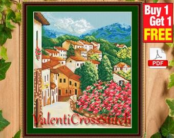 Spain Cross Stitch Pattern, City, Country, PDF counted cross stitch pattern, cross stitch chart, #sp 64
