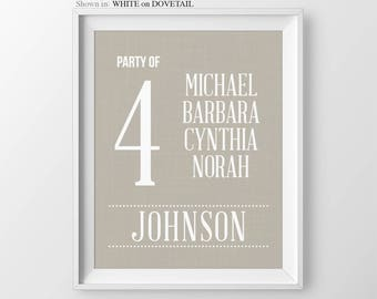 Party of 4 Family Number Sign Birth Announcement New Mom Pregnancy Gift Party of 5 Gallery Wall Decor Gift For Mom Gift For Her Party of 6