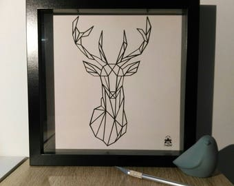 "Showcase kirigami ""King of the forest"" frame * hand cutting *."