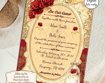Digital Beauty and the Beast Wedding Invitations - Custom,Personalized - Red & Gold