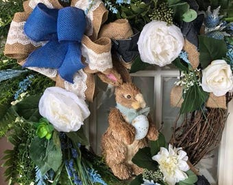 Easter Wreath,Easter Bunny Wreath, Easter Wreath Bunny, Easter Sisal Bunny Wreath,Easter Easter Door,Easter Door Decor,Bunny Wreath