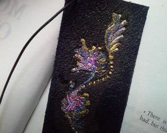 """Bloom"" hand painted and engraved black leather bookmark"