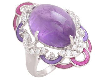 Sparkling Drop 925 Sterling Silver Purple Bloom Ring SDFCC010