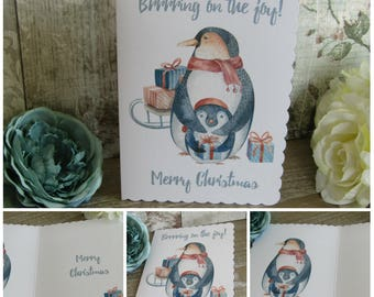 1 Penguin Card Merry Christmas  - Greeting Cards,Christmas Card,Penguin Card