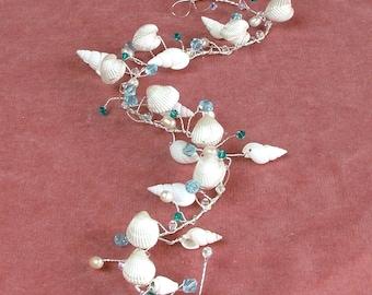 Sea shell bridal hair vine, beach wedding hair accessory, freshwater pearl headpiece, Aquamarine crystal halo, white shell silver wreath,